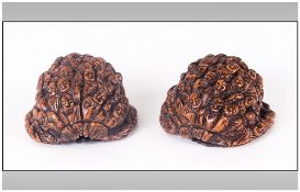 Antique Chinese Carved Walnut Shell, Finely Carved with a Hundred Buddahs In Two Pieces, Ching