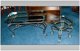 Two Wrought Iron Coffee Tables with shaped square glass top on shaped cabriole legs. 18 & 21'' in