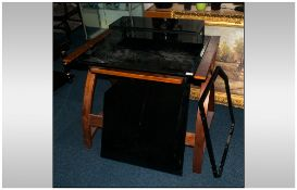 Teak And Glass Computer Workstation, Monitor Shelf & Pull Out Keyboard Shelf With Bentwood Legs. 35½