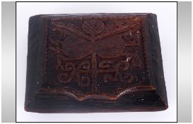 Unusual Antique Irish Bog Oak Tobacco Box, The Lid Carved With a Shamrock Device with Symbols,