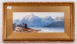 Fine Quality Water Colour of a Continental Lake Scene, with a mountainous background with figures on
