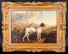 A Mid 19th Century Study Of A Pointer Dog oil on panel. Unsigned. Period Frame,. 11x16''
