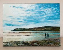 Local Artist Robin W Theobald Contemporary Mounted Original Oil on Canvas. 'Robin Hood's Bay' with
