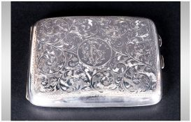 George V - Shaped Silver Cigarette Case, with Chased Stylished Decoration to Body with Gilt