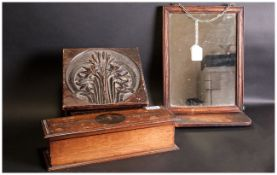 Three Items comprising Carved Wood Lidded Box, walnut inlaid glove box and a small oak wall mirror.