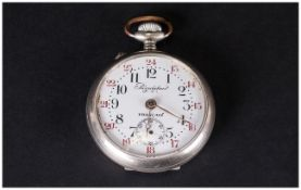 French - 1930's Nickel Cased Military Regulateur Open Faced Pocket Watch with Enamel Dial. Marked to
