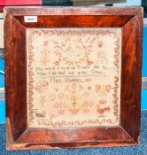 19thC Framed Sampler. Central Text Reads 'This Work In Hand My Friends May Have, When I'm Dead And