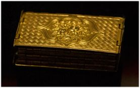 Gilt Brass Avery Needle Case, rectangular, six-fold concertina type, the front and back with a