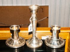 Silver Hallmarked Candlestick, Together With Two Viners Faceted Candle Holders.