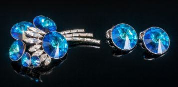 Art Deco Style Brooch & Matching Pair Of Earrings, Set With Blue & White Stones. Looks well