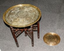 Middle Eastern Ornate & Decorative Circular Brass Topped Carved Wooden Table, 21'' in height, 21''