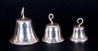 Early 20th Century Trio Of Graduating Novelty Miniature Silver Bells, Hallmark For London