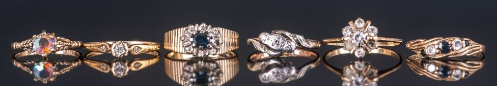 Ladies 9ct Gold Stone Set Dress Ring, Collection Of Six Rings All fully hallmarked. Various designs.
