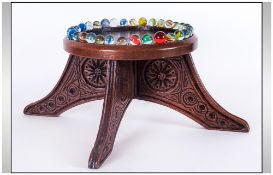 WITHDRAWN //  Victorian Carved Oak Glass Marble Game Stand of Unusual Form. Supported on Four Carved