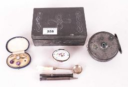 Collection Of Oddments Comprising A Pewter Clad Hinged Jewellery Box, Young And Sons Fishing Reel,