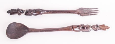 African Tribal Carved Hardwood Fork and Spoon, The Handles Carved with Figures In Ceremonial