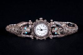 Ladies - Sterling Silver Ornate Wrist Watch, Set with Marcasite and Turquoise - Also with Integral