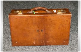 A Vintage Leather Gentleman's Suitcase, ' C R ' Monogram to the front, with Brass Locking Hinges.