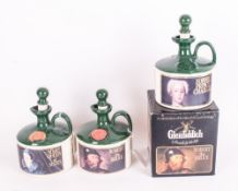 Three Pottery Glen Fiddich Single Malt Whiskey Jars with Stoppers - Green Glazed with Red Wax Seals.