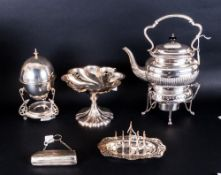 Collection Of Silver Plated Ware Comprising A Spirit Kettle, Toast Rack, Opera Purse, Egg Warmer And