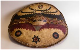 Tribal Art, Late 19thC Maasai Shield, Kenya. Made of Hide, stretched on a bent wood frame, then