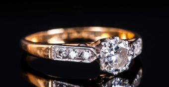 18ct Gold and Platinum Diamond Ring, The Single Diamond of Excellent Colour and Clarity. Est 50