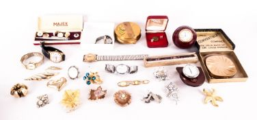 Mixed Lot Of Oddments And Collectables Comprising Wristwatches, Compact, Brooches Etc.