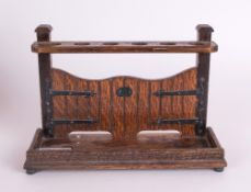 1930's Oak Pipe Stand / Rack In The Form of a Double Gate, Label to Base - Tallent of Old Bond