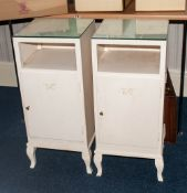 2 French Style White Painted Bedside Cabinets, Glass Tops Above A Shelf And Storage Unit, Raised