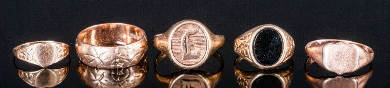 Ladies 9ct Gold Rings, 5 in total. All fully hallmarked. Various sizes. 10 grams.