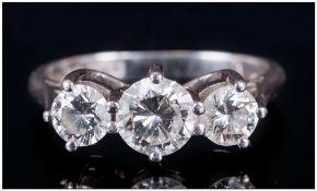 A Platinum Set 3 Stone Diamond Ring, round brilliant cut diamonds, centre stone VS1 - VS2 Clarity,