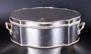 A Fine and Large Lidded and Shaped Two Handle Silver Plated on Copper Table Box, with Gadroon