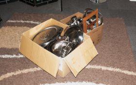 Two Boxes Kitchen Cooking Utensils & Metalware.