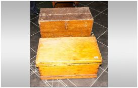 Two Antique Pine Bedding Boxes. One with a Shipped Finish and One with a Scumbled Clasp with