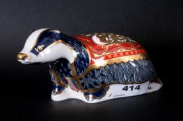 Royal Crown Derby Paperweight, Exclusive for Collectors Guild Moonlight Badger. Gold Stopper, 6