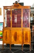 Fine Quality Edwardian Mahogany Inlaid Sheraton Revival Display Cabinet, In Two Sections. The Glazed