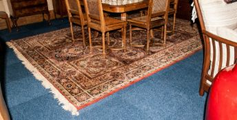 Large Room Sized Silk Rug Geometric Floral Design In Browns And Beiges 98 x 140 Inches