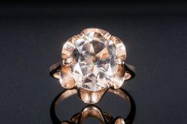Ladies 9ct Gold Set Topaz Ring, fully hallmarked.