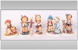 Hummel Early Figures ( 5 ) In Total. 1/ Little Nurse. 2/ School Boy, 3/ Little Goat Herder. 4/
