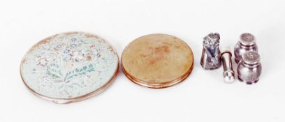 Mixed Lot Comprising 2 Compacts, White Metal Salt & Pepper And Figure