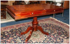 Large Reproduction Hall/Console Table Walnut Top, Mahogany Finish With 2 Frieze Drawers Raised On