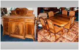 French Walnut Dining Room Suite, Consisting of 6 Bergere Backed Dining Chairs with Shaped Stretchers