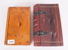 Antique Wooden Box In The Shape Of A Book With Sliding Compartment, together with a wooden hinged