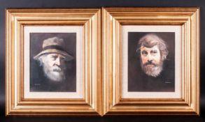 Larry Rushton ( Blackpool Artist ) Pair of Portraits of Elderly Men, Head and Shoulders - Oil on