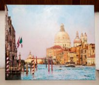 Local Artist Robin W Theobald Contemporary Mounted Original Oil on Canvas. 'Venice, Early