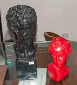 Two Classical Plaster Busts after the Antique, One Depicting Apollo's Head on a Square Base Coloured