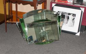 1930's Deco Style Wall Mirror with a shaped top and green flaking to the edge,