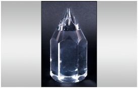Hoya Crystal - Faceted Pencil Paperweight. Stands 5.25 Inches High, Mint Condition with Original