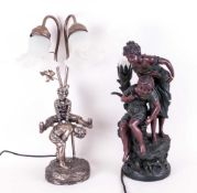 2 Decorative Table Lamps, comprising Two Children playing piggyback and Mother and Child Fishing.