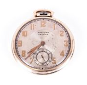 Waltham Premier Gold Plated Slimline Pocket Watch with gold fingers and subsidiary dial. Circa